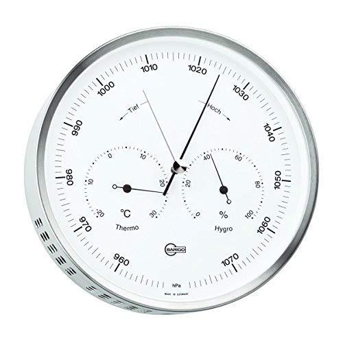 Barigo Wetterstation Edelstahl Barometer Thermo Hygro 160mm