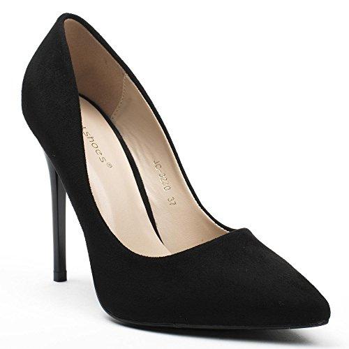 Ideal Shoes - Escarpins à bout pointu bi-matière Asma Noir