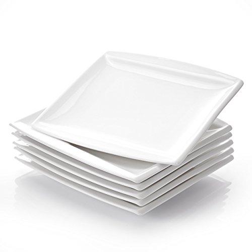 """MALACASA, Serie Blance, 6 teilig Set Porzellan Tellerset 10,25"""" Cremeweiß Speiseteller Großer Flachteller 26,5 * 26 * 2,5cm Essteller Tafelservice für 6 Personen"""