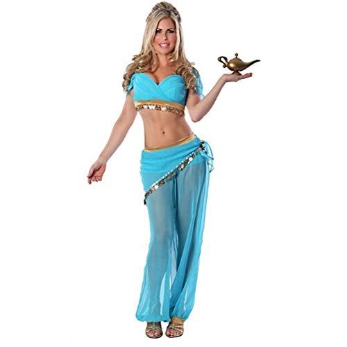 Aladdin Kostüm Sexy - MDXRZ Halloween Funktionsbekleidung Aladdin Wunderlampe Lily Prinzessin Kostüm Sexy Bauchtanz Funktionsbekleidung Bühnentechnik,Blau,L