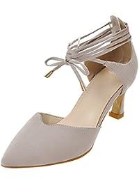 f54739df873d5f AIYOUMEI Damen Riemchenpumps High Heels Spitze Pumps Zum Schnüren Sandalen  mit Rimchen Schuhe