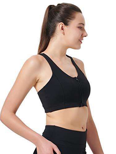 Zeronic Damen Sport-BH mit Reißverschluss vorne, mittelgroß, stoßfest, mit Riemen, für Workout - Schwarz - X-Large - 3