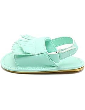 Hongfei Zapatos de bebé niña antideslizante infantil borla Velcro PU cuero sandalia