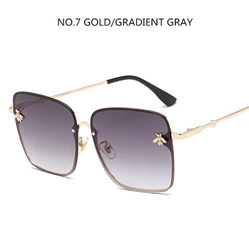 BUYAOAQ Große Eckige Sonnenbrille Männer Und Frauen Promi-Sonnenbrillen Weibliche Farbe, D
