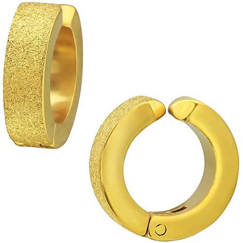 EYS JEWELRY Damen Herren Ohrclips aus Edelstahl 316L Chirurgenstahl 12 mm gold Klapp-Creolen Ohrklemmen (Ohr-loch)