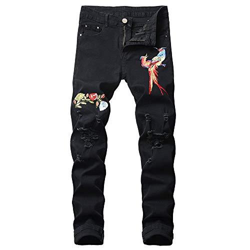 Daorokanduhp Men Pants Herren Jeans 2019 Ripped Slim Fit Straight Zip Denim Hose Vintage Motorrad mit gebrochenen Löchern, Herren, schwarz, XX-Large 20 Fleece Open Bottom Pants