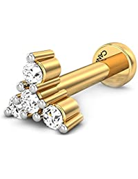 Candere By Kalyan Jewellers 18K (750) Yellow Gold and Diamond Asha Nose Pin for Women