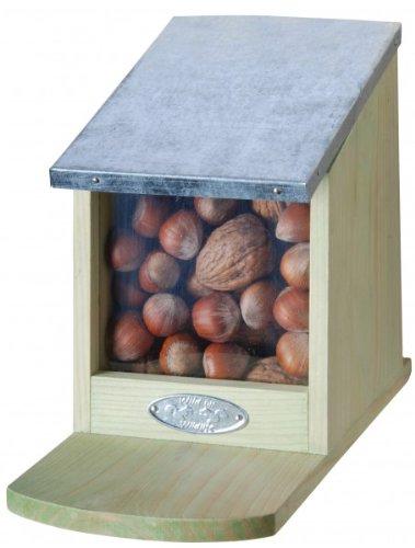 Futterhaus Eichhörnchen Futterautomat Futterstation Holz 12 x 17,5 x 22,5 cm