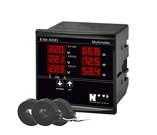 NWP EM-60D NW Einbaumessgerät Multimeter zur Messung von Strom (1A-100A), Spannung und Frequenz in 3-Phasigen Netzwerken - Für Schalttafel und Fronteinbau - Black Edition