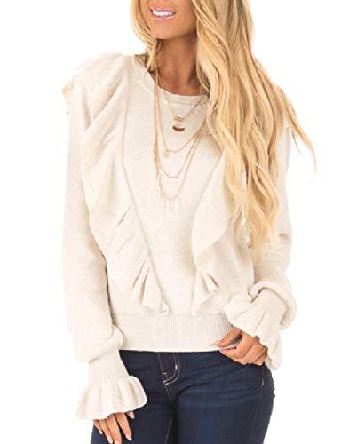CuteRose Womens Trumpet Sleeve Pure Color Ruffle Sweater Knitwear Shirt 1 L