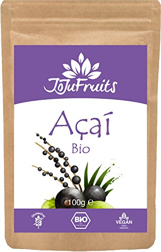 Acai Pulver Bio (100g) - JoJu Fruits - (Vegan, Glutenfrei, Laktosefrei) Superfood aus Bio Acai Beeren - Acai-früchte Kapseln
