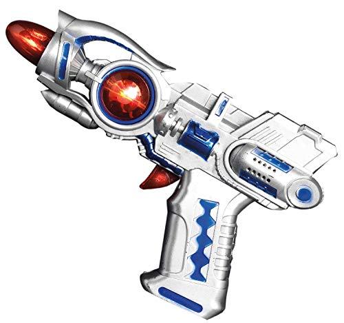 Kostüm Weltraum Zubehör - Dreamgirl Spielzeug Weltraum Pistole Sternenkrieger Spiel-Waffe mit Licht und Sound Zubehör Fasching