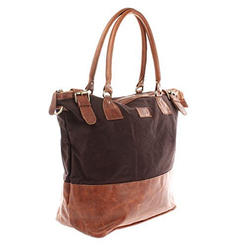 LECONI XL Shopper Damen Canvas Leder kleiner Weekender Beuteltasche große Schultertasche 50x41x20cm LE2005-C mokka / braun
