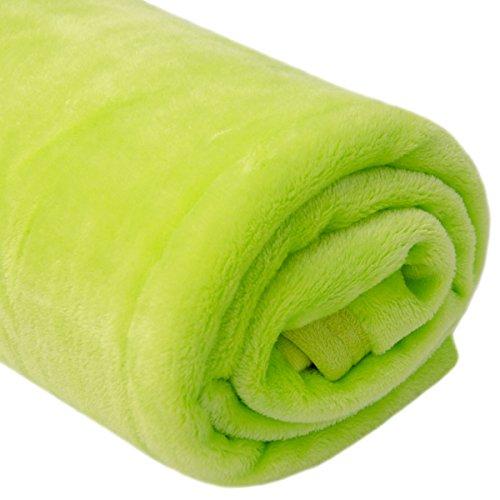 DuneDesign extra warme Kuscheldecke 140x200cm Wohndecke 300g/m² Fleecedecke Tagesdecke Mikrofaser-Decke Apfel-Grün Grüne Bettdecken