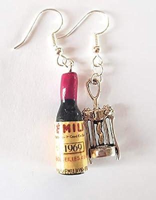 bouteille de vin rouge et tire bouchon argenté boucles d oreille cadeau rigolo apéro pate fimo