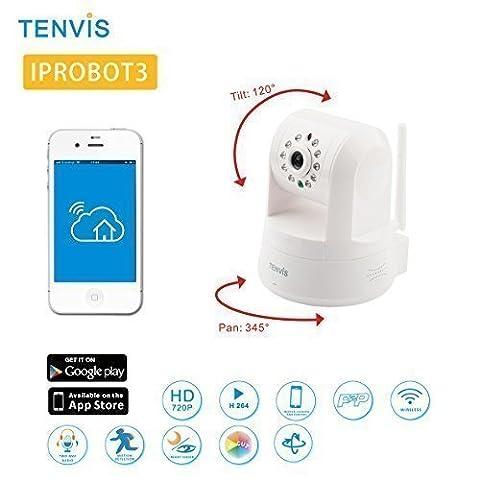 Tenvis IpRobot3 Caméra de surveillance HD 720P 1280x720 H264 IP Wifi sans fil - Alarme & Détection mouvement - Motorisée - Vision Nocturne - Son bidirectionnel - Application téléphone & Guide en français