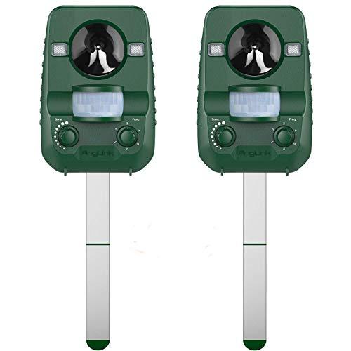 AngLink Version 2019 Solar 2er Pack Katzenschreck Doppelter Ultraschall abwehr mit Batteriebetrieben und Blitz Empfindlichkeit Wetterfest Hundeschreck Tiervertreiber