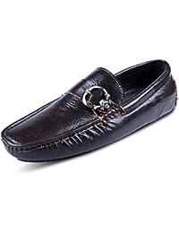 GRRONG Zapatos De Cuero Zapatos Perezosos De Los Hombres De Los Zapatos De Automóviles Hebilla De Cuero Puro De Los Hombres