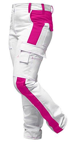 strongAnt® - Damen Arbeitshose komplett Stretch Weiß Pink für Frauen Malerhose mit Kniepolstertaschen. Reißverschluss YKK + Metallknopf YKK Baumwolle - Made in EU - Weiß-Pink 38