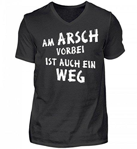 Shirtee Hochwertiges Herren V-Neck Am Arsch Vorbei ist Auch ein Weg - Lustiger Spruch Weiss Schwarz