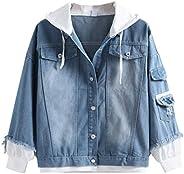 Men Hoodies Jacket Coat, Male Solid Long Sleeve Denim Jacket Button Pocket Sweatshirt Outwear