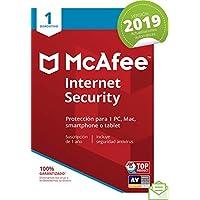 McAfee Internet Security 2019 - Antivirus, PC/Mac/Android/Smartphones, 1 Dispositivo, Suscripción de 1 año