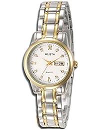 oumosi Fashion pareja de cuarzo reloj con calendario hombres mujeres banda de acero inoxidable reloj impermeable wlisth Qlb serie–Q351, Blanco, Mujer