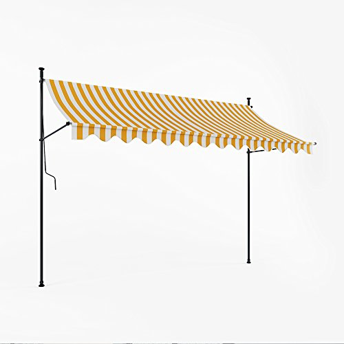 Markise Klemmmarkise Balkonmarkise 295 cm Terrasse Handkurbel manuell Weiß-Gelb