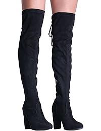 PILOT® faux bloc en daim talon haut sur les bottes au genou