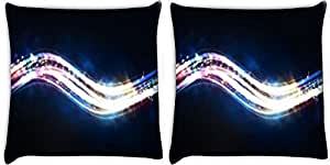Snoogg Shiny Wave Pack Of 2 Digitally Printed Cushion Cover Pillows 12 X 12 Inch
