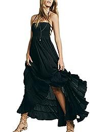 6d6809d9db7f Mena Uk Vestito da Rockabilly dal Vestito Boho di Maxi da Colore Solido dell increspatura  della Spalla delle Donne…