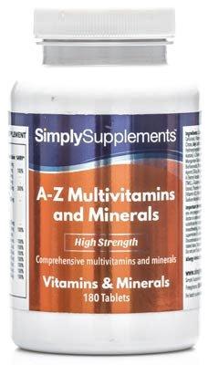 A-Z Multivitaminas - 2 botes de 180 comprimidos - 1 año de suministro - Fórmula completa con 31 nutrientes esenciales -SimplySupplements
