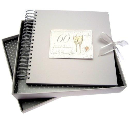 White Cotton Cards - Album dei ricordi per nozze di diamante, motivo: bicchieri di champagne