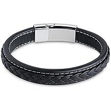LDUDU® Bracelet en cuir tressé et acier inoxydable anti-allergique Pour Homme Couleur argent et noir Cadeau pour l'anniversaire La Saint-Valentin Noël