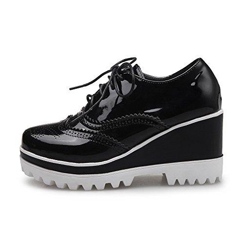 AgooLar Femme Verni à Talon Haut Rond Couleur Unie Boucle Chaussures Légeres Noir