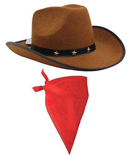 ILOVEFANCYDRESS Cowboy Zubehör-Set mit braunem Cowboyhut mit Stern-Nieten und Band und farbige Bandana / Tuch mit (Kostüm Cowboy Django)