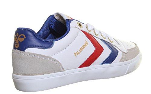 SV Hummel Stadil - Scarpe da corsa basse, unisex, stringate, in pelle, colore: blu Bianco (bianco)