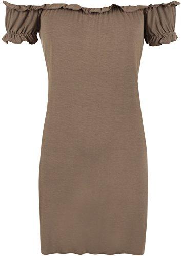 WearAll - Haut long et froncé qui dégage les épaules - Hauts - Femmes - Grandes tailles 42 à 56 Moka