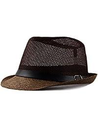 Milopon Panama Sombreros Panama Sombrero Casual Cap Hombres Redondas Sombrero  Sombrero de Paja para Outdoor Sports 39530affa40