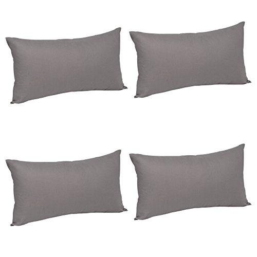 Woltu copricuscini fodere per cuscini rettangolare decorazione per divano casa set da 4 pezzi grigio scuro 40x60 cm