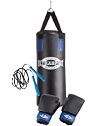 Ultrasport Jugend Box-Set inkl. Vinyl Boxsack 60 x 25 cm gefüllt, 8 oz Boxhandschuhe, 2er Set Bandagen, Springseil, Deckenhalterung und Transport-Rucksack