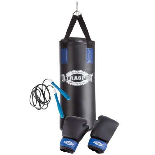 Ultrasport 331500000028 - Set de boxeo juvenil, serie Boxing Gear, con saco de boxeo de vinilo de 60 x 25 cm relleno, guantes de boxeo de 8 onzas, set de dos vendas, cuerda para saltar, soporte de techo y mochila de transporte