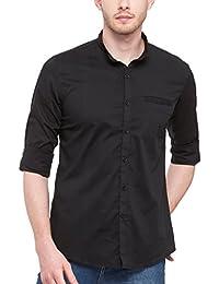 0f9196c605a8a nick jess Camisa Casual - Básico - Cuello MAO - Manga Larga - Para Hombre