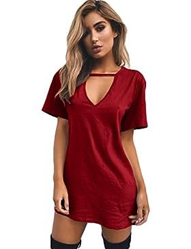 Jiayiqi Mujeres Camiseta Vestido Gargantilla Profundo con Cuello En V Tees Sólido Verano Tops S-3XL