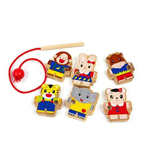 Zerama Kinder Kinder Early Learning Ressourcen Educational Holztier String Perlen Schnürsystem Spielzeug