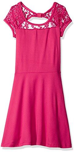 Derek Heart Big Girls' Cap Sleeve Skater Dress W/Waist Lace Yoke and Back Bow, Pink Peaco, M10-12 (Cap Sleeve Bow)