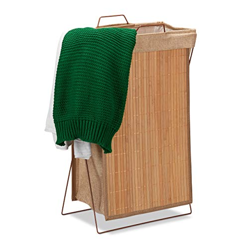 Relaxdays Cesta de Ropa Sucia Plegablede Bambú, 40 L, 61x38x22 cm