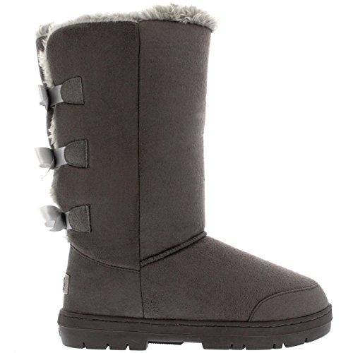 Damen Schuhe Triplet Schleife Fell Schnee Regen Stiefel Winter Fur Boots - Grau - 38 - AEA0233 -