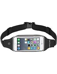 Riñonera Running, ZOETOUCH Riñonera Deportiva para iPhone 6, 7 Plus Impermeable con Bandas Reflectantes y Salida para Auriculares Perfecto para Correr al Aire Libre - Negro