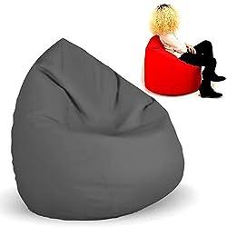 Planium Sitzsack XL Anthrazit mit Füllung BeanBag Sitzkissen Bodenkissen Kissen Sessel